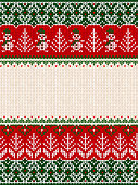 Ugly sweater Merry Christmas party ornament. Vector illustration knitted background seamless pattern snowman, christmas tree, snowflake, scandinavian ornament. White, red, green colored knitting