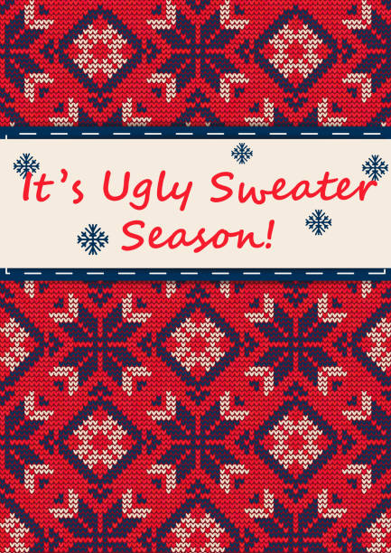 ugly sweater party - kitsch stock-grafiken, -clipart, -cartoons und -symbole