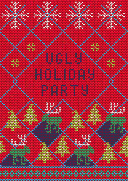 ugly sweater party3 - kitsch stock-grafiken, -clipart, -cartoons und -symbole