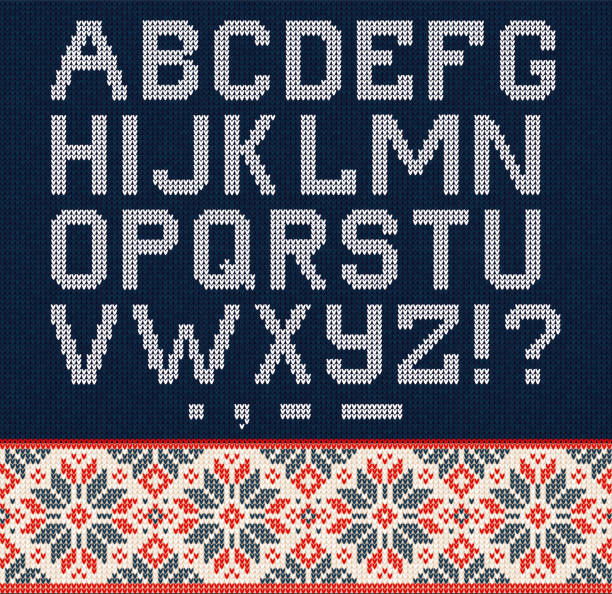 Ugly sweater Season Winter Sale Poster. Knitted background pattern scandinavian ornaments. Ugly sweater Christmas Season Winter Sale Poster. Vector illustration knitted background pattern with deers snowflakes, scandinavian ornaments for advertising flyers, banners. White, blue, red colors alphabet backgrounds stock illustrations