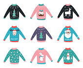 Ugly Sweaters Vector Set for Party Invitations and Awards