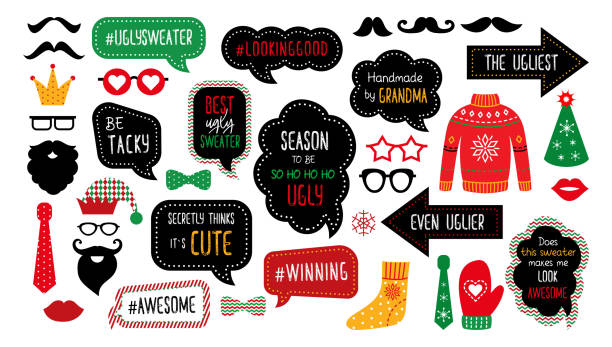 ugly tasky christmas sweater party photo booth props - photo booth stock illustrations, clip art, cartoons, & icons