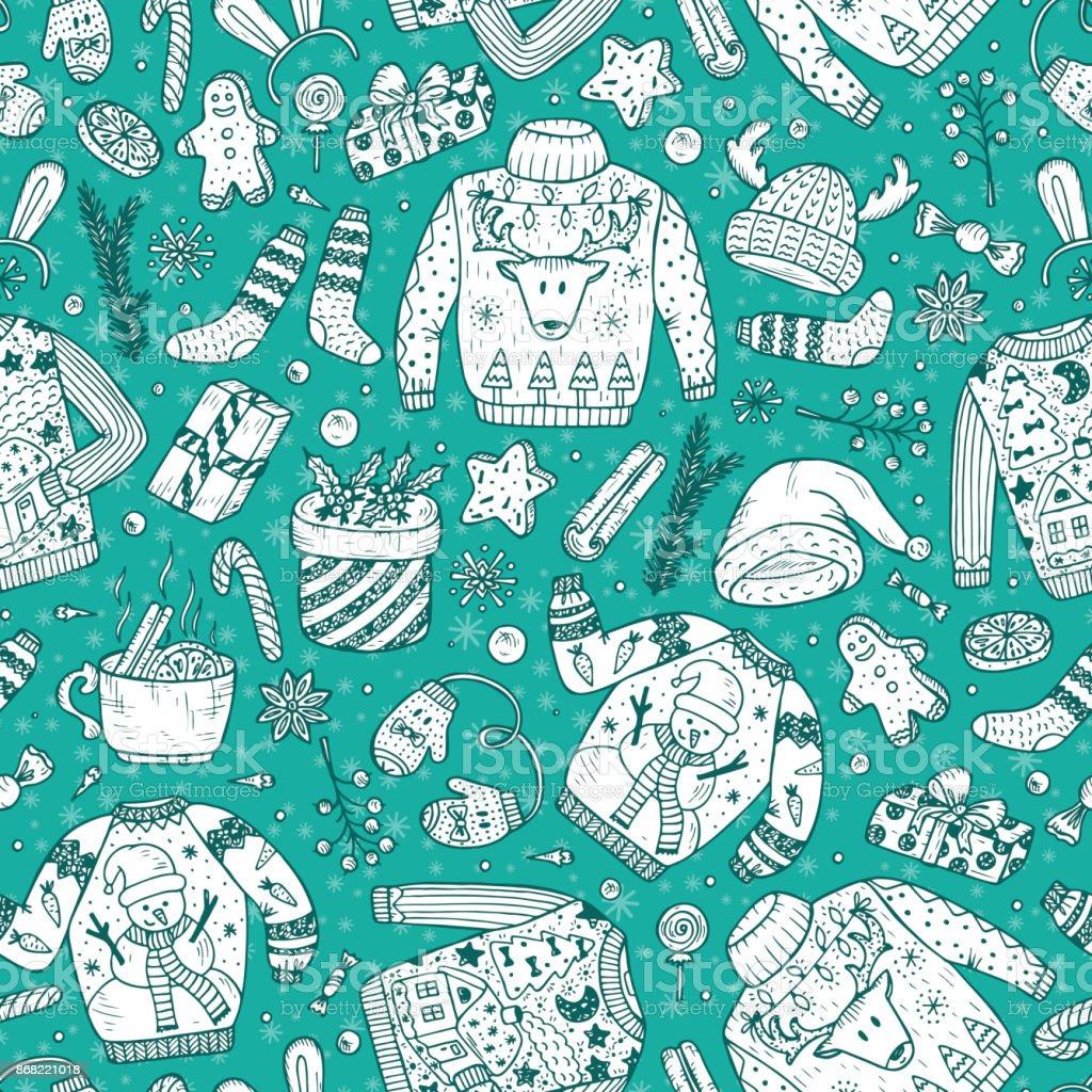 Doodle Weihnachtsfeier.Hässliche Pullover Weihnachtsfeier Vektor Weihnachten Seamless