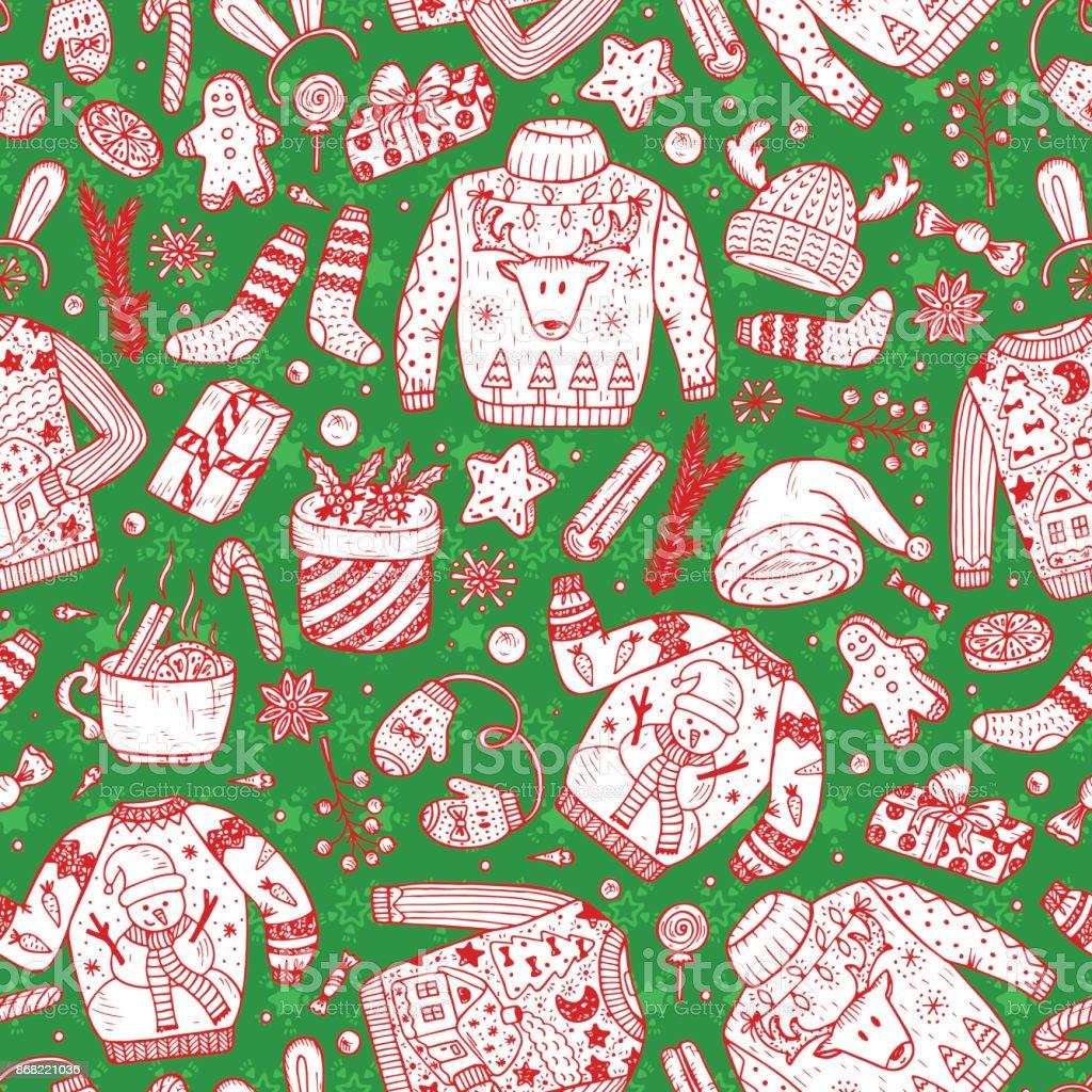 Ilustración de Fiesta De Navidad Feo Suéter Vector Navidad De ...