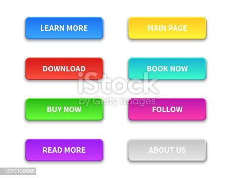 Ui buttons. Colored trendy flat button. Buy, now and learn, more. Download and read, more. Pointer navigation vector gradients elements