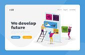 Ui Development Landing Page Template. Tiny Characters at Huge Mobile Phone Develop Application. Software Prototyping, Smartphone Interface Building, App Creation. Cartoon People Vector Illustration