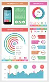 Ui, infographics and web elements including flat design. EPS10 vector illustration. File contain transparency.