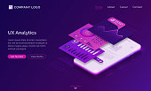 Ui ux analytics isometric landing page, mobile phone dashboard graphs and data analysis layout charts. Mobile app user experience interface development, gadget software design, 3d vector web banner