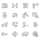Flat thin line Icons set of UX Design And Web Development - Illustration