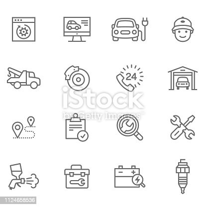 Flat thin line Icons set of UX Design And Web Development - Illustration