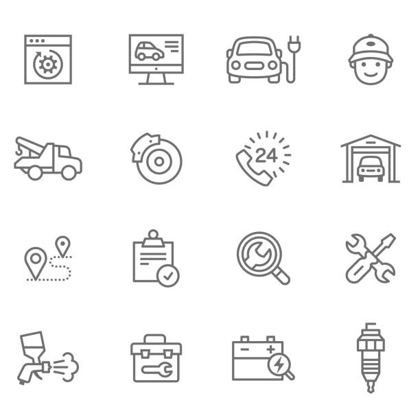ui ux 디자인 - 수리 stock illustrations