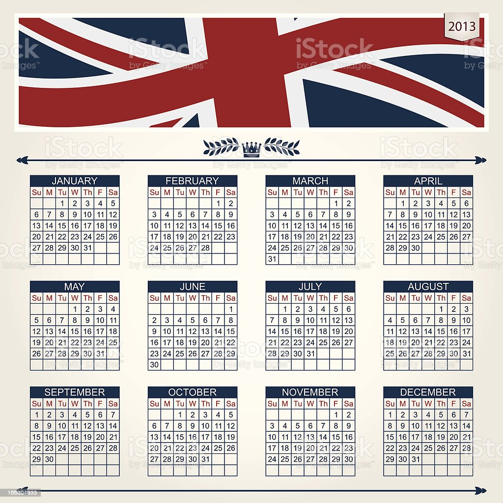 uk calendar for 2013 royalty-free stock vector art