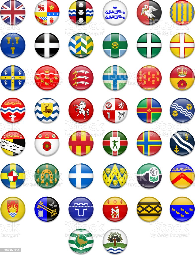 Uk Counties Button Flag Collection vector art illustration