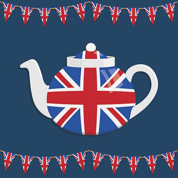 英国のティーポット - イギリスの国旗点のイラスト素材/クリップアート素材/マンガ素材/アイコン素材