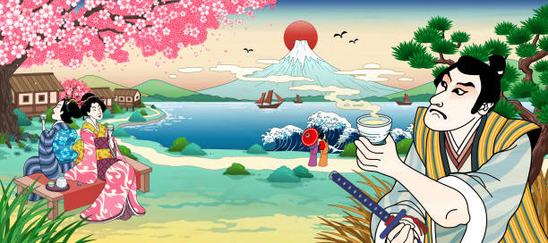 Ukiyo e style drink time vector art illustration