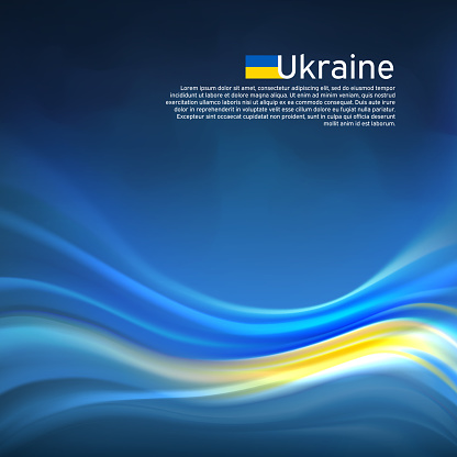 Ukraine abstract flag background. Blurred pattern of lines of light colors of the ukrainian flag in the blue sky, business brochure. State banner, Ukrainian poster, patriotic cover, flyer. Vector design