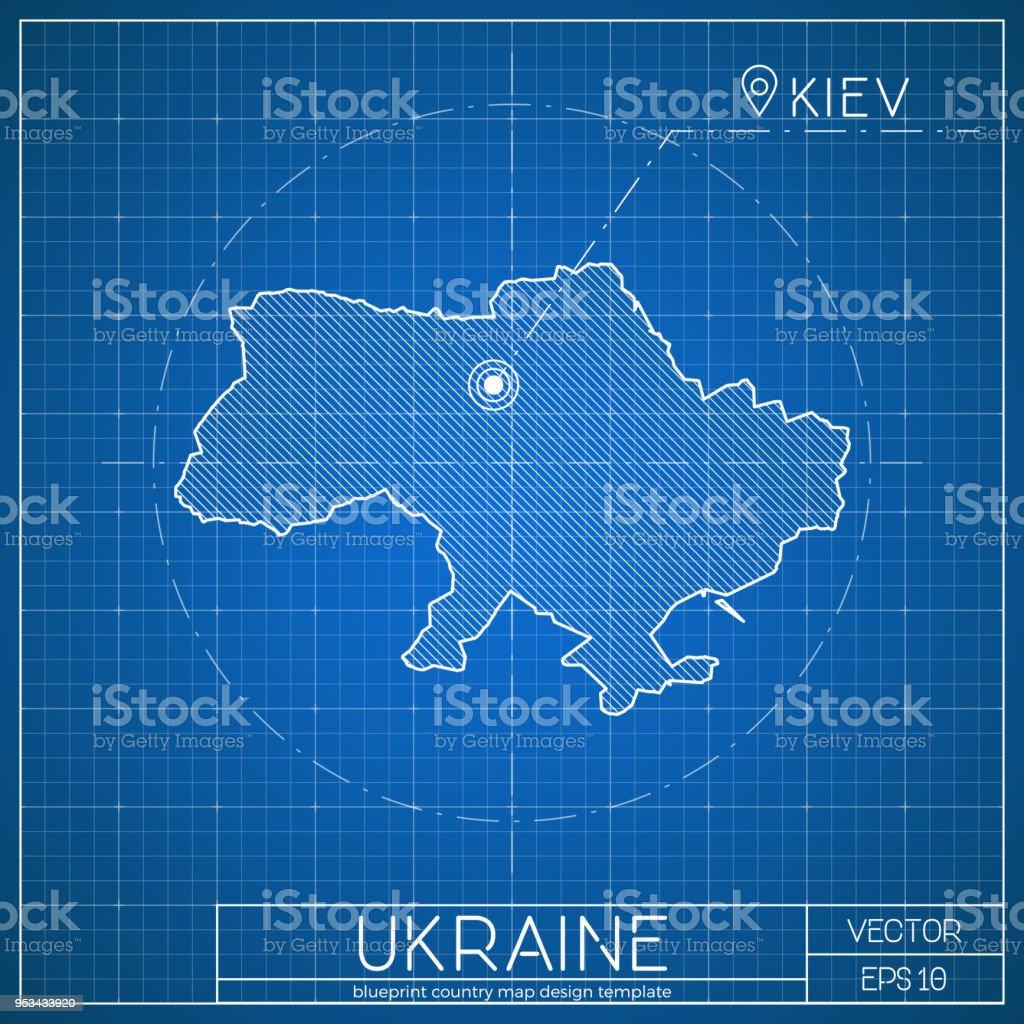 Ukraineblaupausemapvorlage Mit Der Hauptstadt Stock Vektor Art und ...