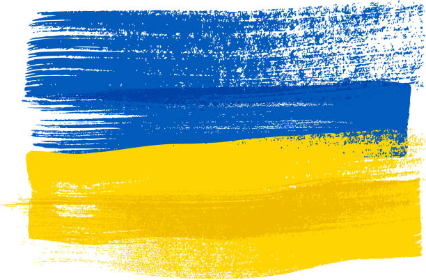 ukraine colorful brush strokes painted flag - 烏克蘭 幅插畫檔、美工圖案、卡通及圖標