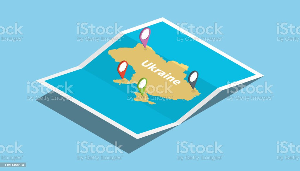 ukraine explore maps country nation with isometric style and pin...