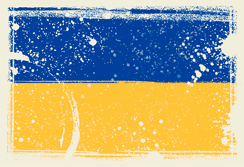 Ukraine Flag. Vector Illustration with grunge frame