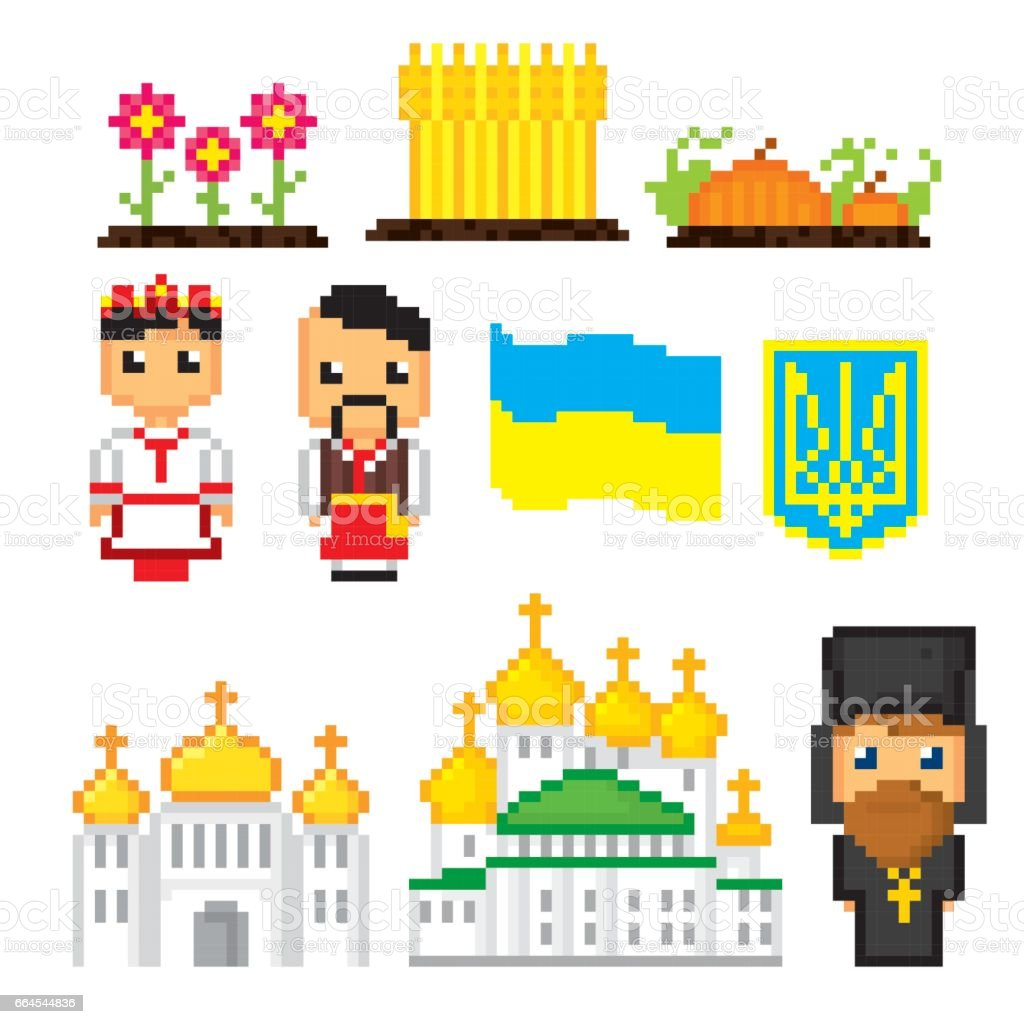 Ukraine icons set. Pixel art. Old school computer graphic style. Games elements royalty-free ukraine icons set pixel art old school computer graphic style games elements stock vector art & more images of borscht