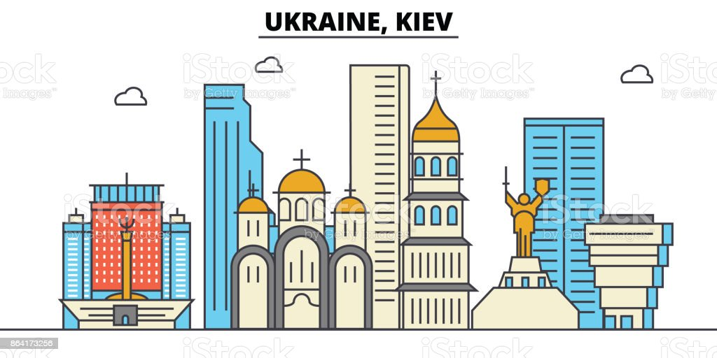 Ukraine, Kiev. City skyline architecture, buildings, streets, silhouette, landscape, panorama, landmarks. Editable strokes. Flat design line vector illustration concept. Isolated icons set royalty-free ukraine kiev city skyline architecture buildings streets silhouette landscape panorama landmarks editable strokes flat design line vector illustration concept isolated icons set stock vector art & more images of apartment