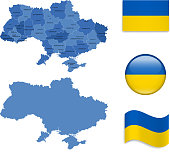 Ukraine Map and Flag Collection