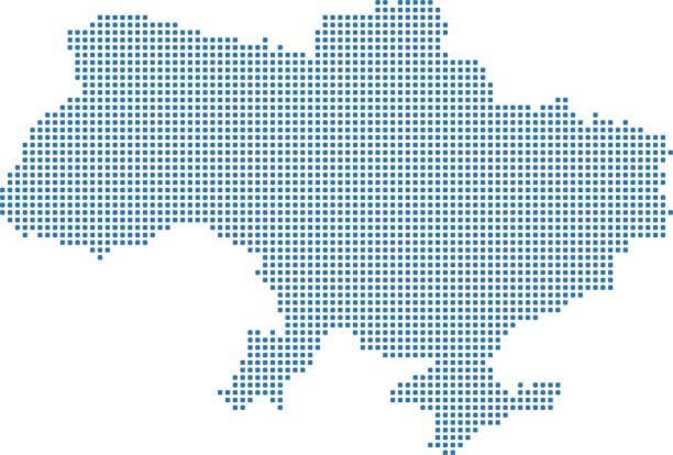 烏克蘭地圖點。點綴烏克蘭地圖。圖元烏克蘭地圖與高度詳細的邊界 - 烏克蘭 幅插畫檔、美工圖案、卡通及圖標