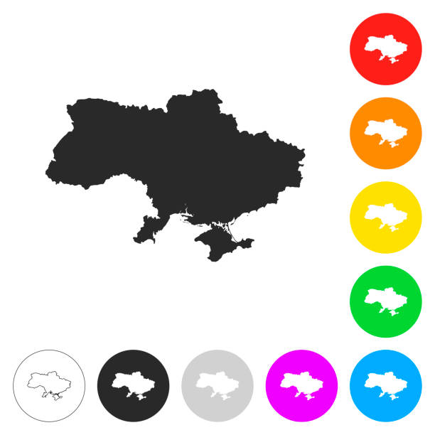 烏克蘭地圖-平面上不同顏色的按鈕圖示 - 烏克蘭 幅插畫檔、美工圖案、卡通及圖標