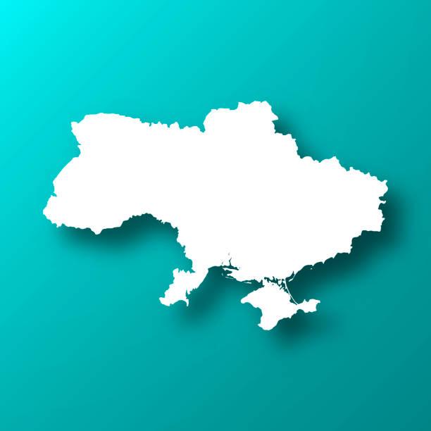 烏克蘭地圖在藍綠色背景與陰影 - 烏克蘭 幅插畫檔、美工圖案、卡通及圖標