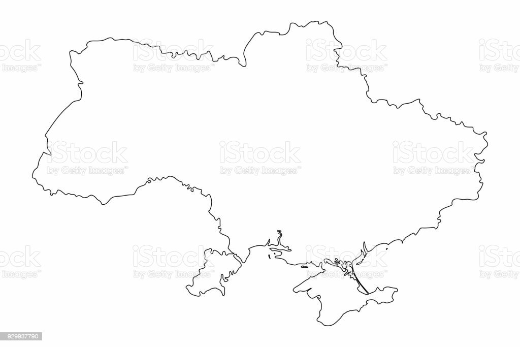 Single Line Text Art : Ukraine map outline graphic freehand drawing on white background