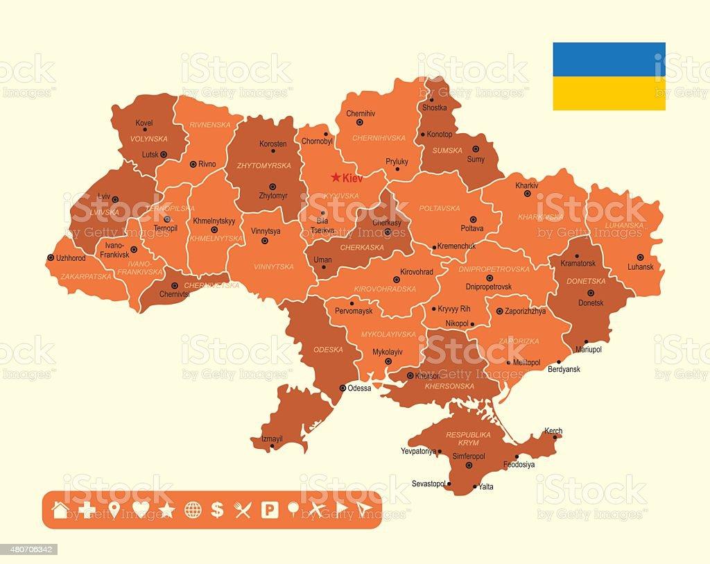 Ukraine Map stock vector art 480706342 iStock
