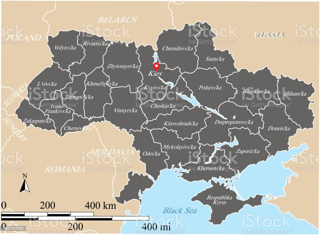 Ukraine map vector outline with scales states or provinces neighbor ukraine map vector outline with scales states or provinces neighbor countries borders and names gumiabroncs Choice Image