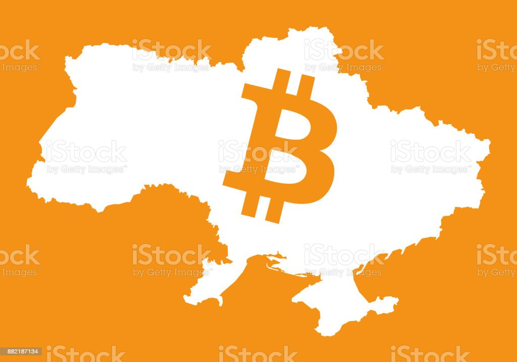 Ukraine Map With Bitcoin Crypto Currency Symbol Illustration Stock