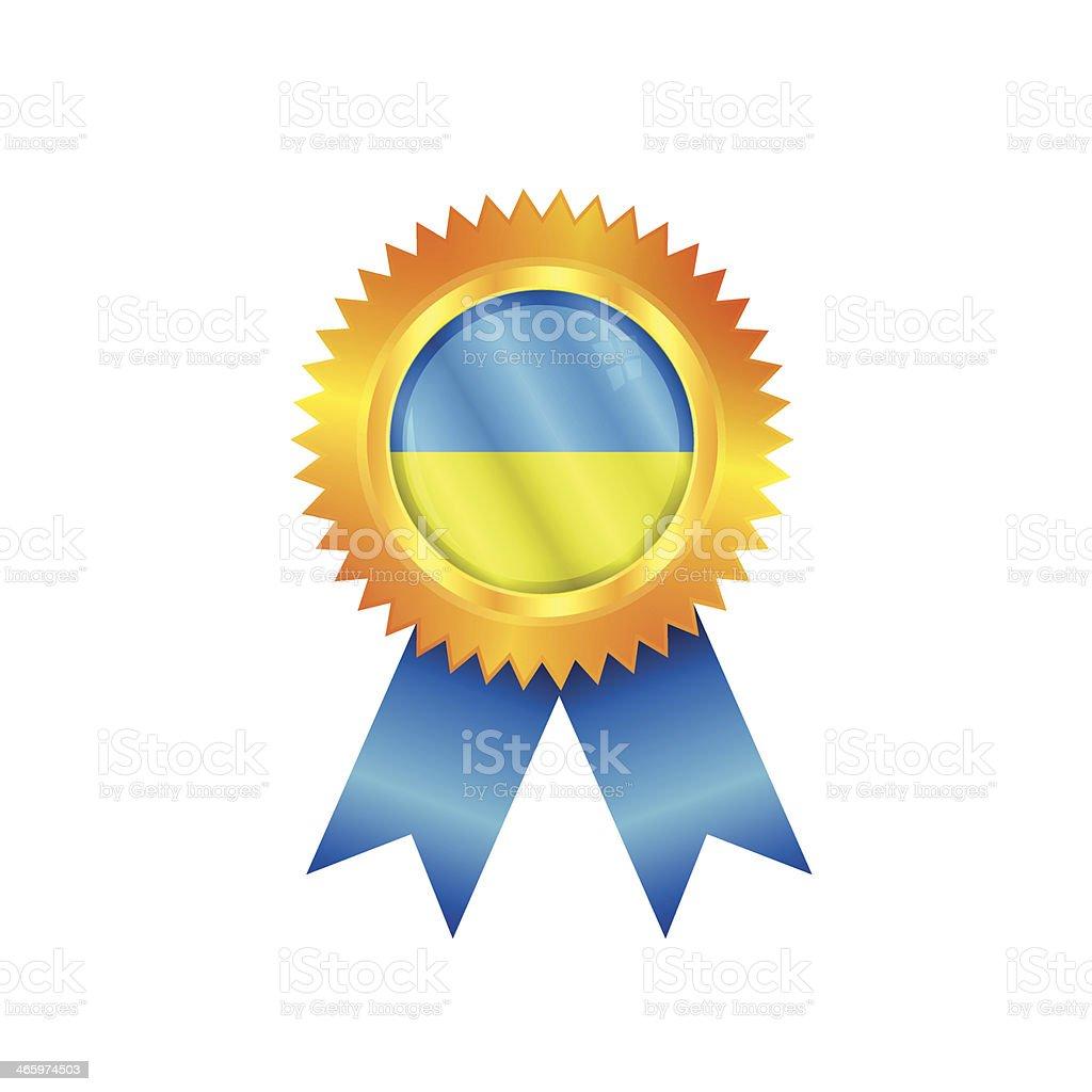 Ukraine medal flag vector art illustration