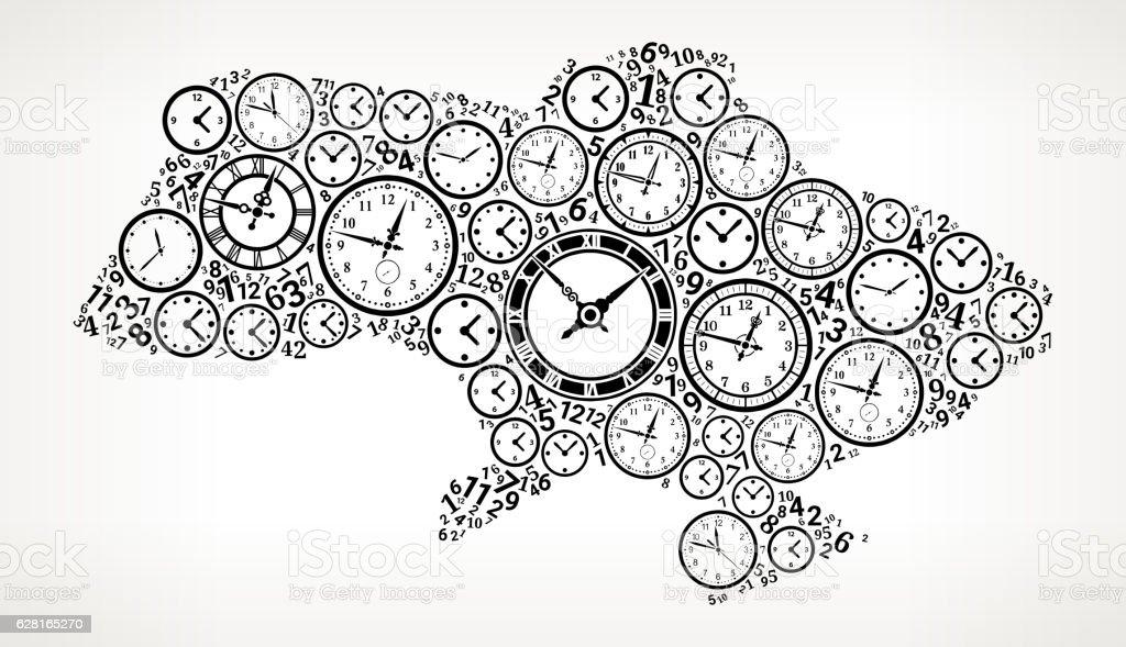 Ukraine On Time And Clock Vector Icon Pattern Stock Vektor Art und ...