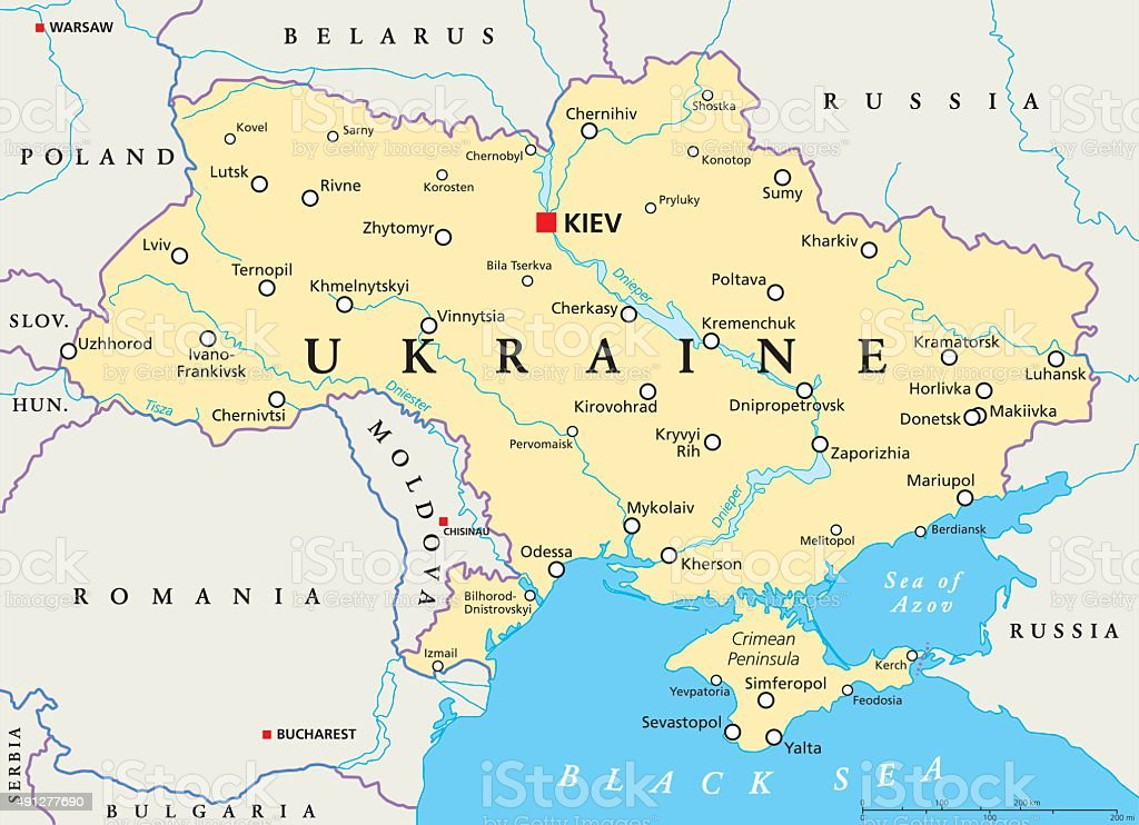 Ukraine Political Map royalty-free ukraine political map stock illustration - download image now