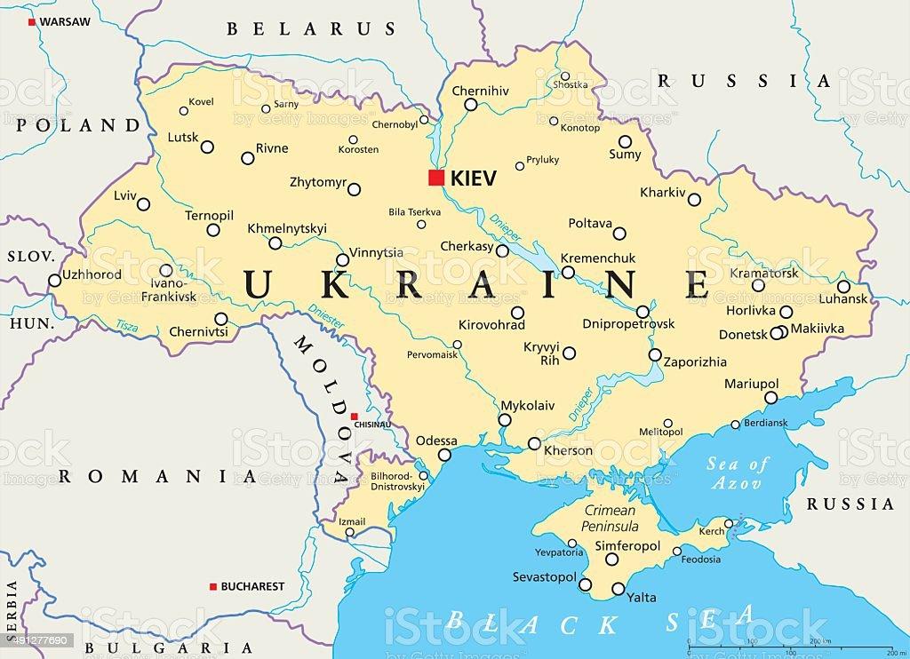 Ukraine politische Karte – Vektorgrafik