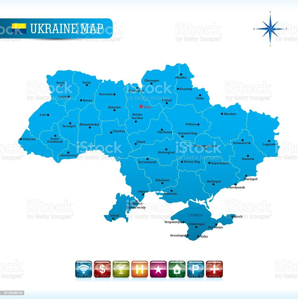 Ukraine Vector Map royalty-free ukraine vector map stock illustration - download image now