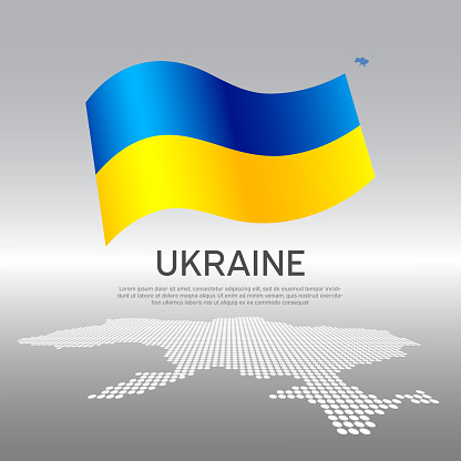 Ukraine wavy flag and mosaic map on light background. Creative background for the national ukrainian poster. Vector design. Business booklet. State ukrainian patriotic banner, flyer