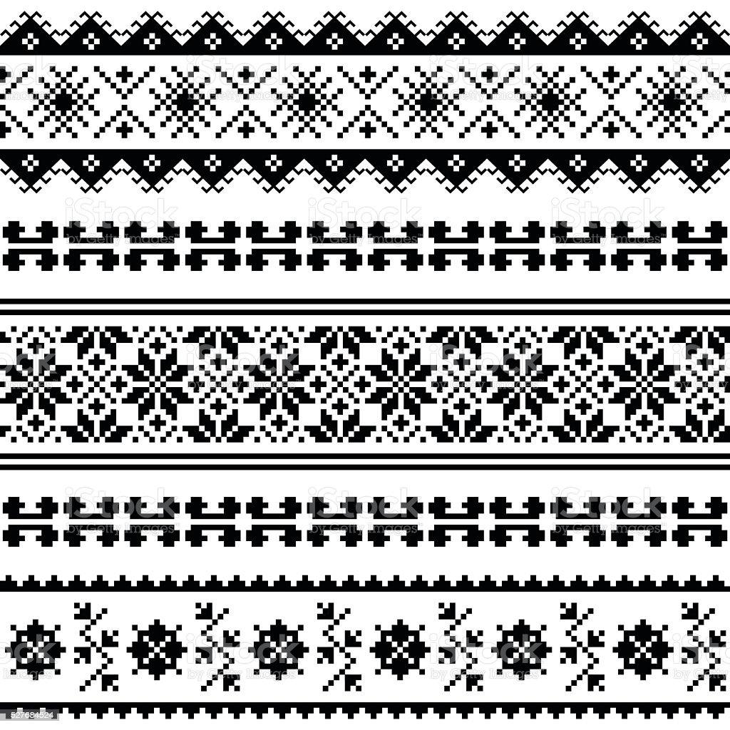 Ukrainian, Belarusian folk art embroidery pattern black vector art illustration