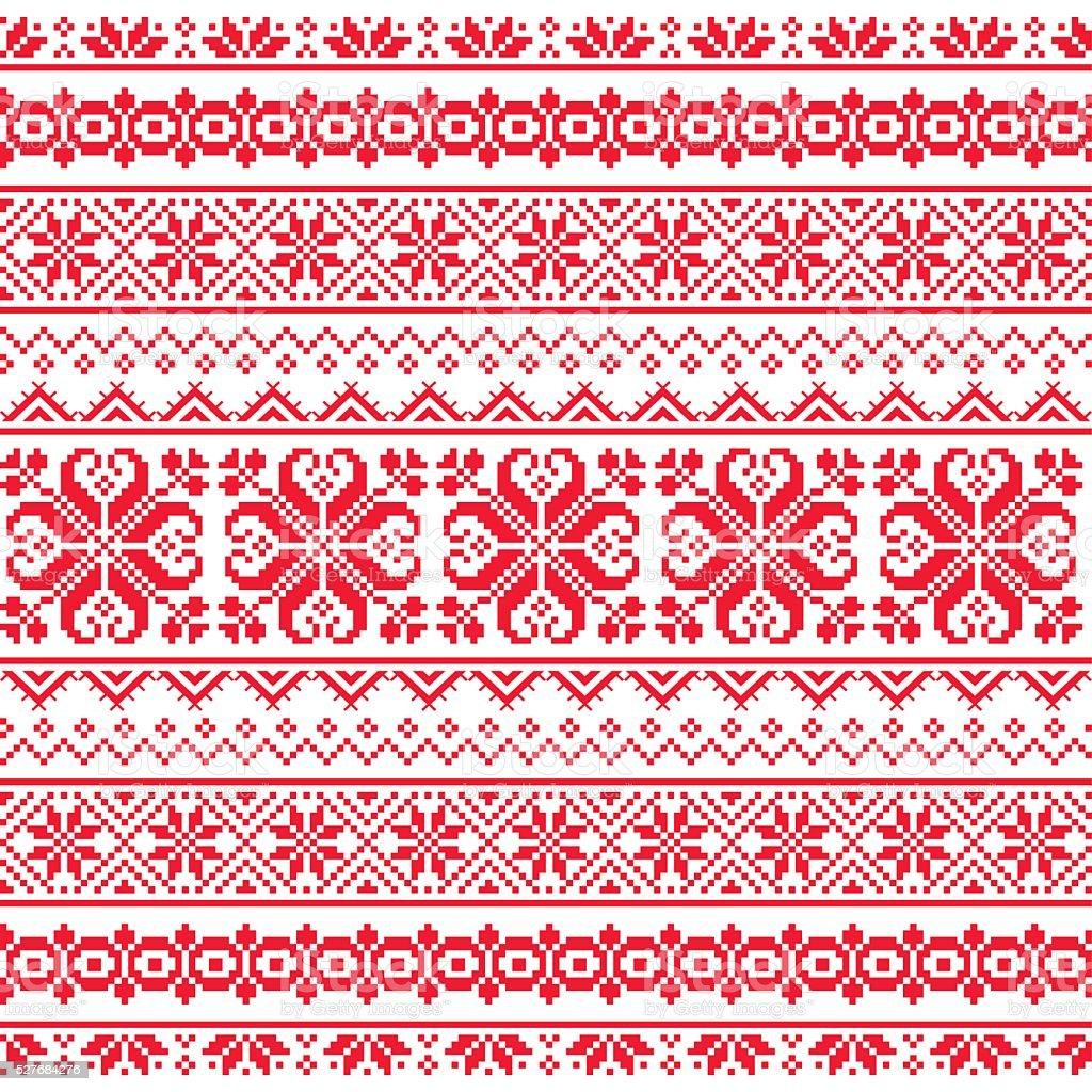 Ukrainian, Belarusian red embroidery seamless pattern - Vyshyvanka vector art illustration