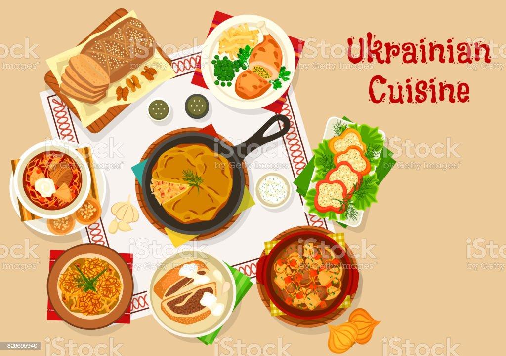 Dejeuner De Cuisine Ukrainienne Plats Conception Icone Cliparts