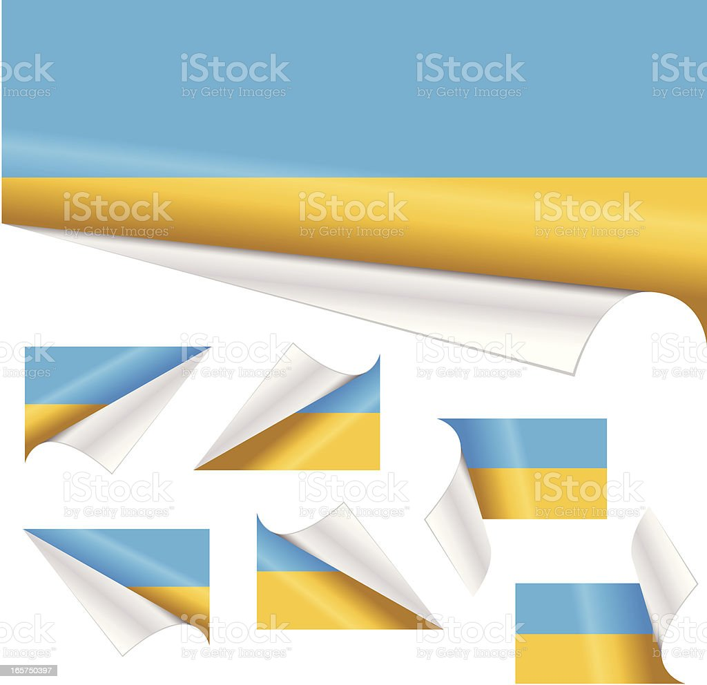 Ukrainian Flags behind Curled Paper royalty-free ukrainian flags behind curled paper stock vector art & more images of blue