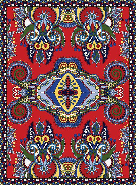 ukrainische blumen-design für print oder papier auf leinwand - wollteppich stock-grafiken, -clipart, -cartoons und -symbole