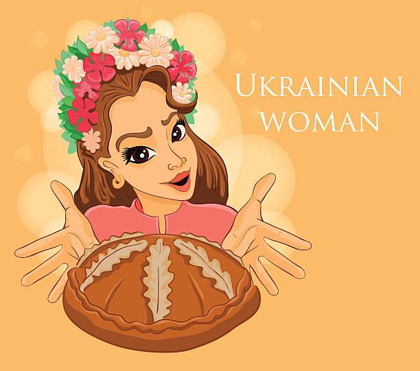 ukrainian girl holding bread - brotzopf stock-grafiken, -clipart, -cartoons und -symbole