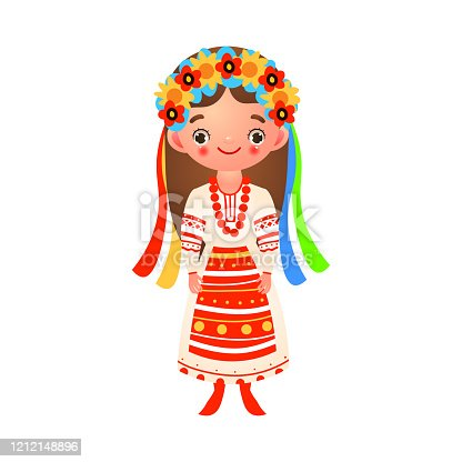 Ukrainian girl standing in traditional folk dress with ribbons and flowers. Ethnic clothes concept. Isolated vector icon illustration on white background in cartoon style.