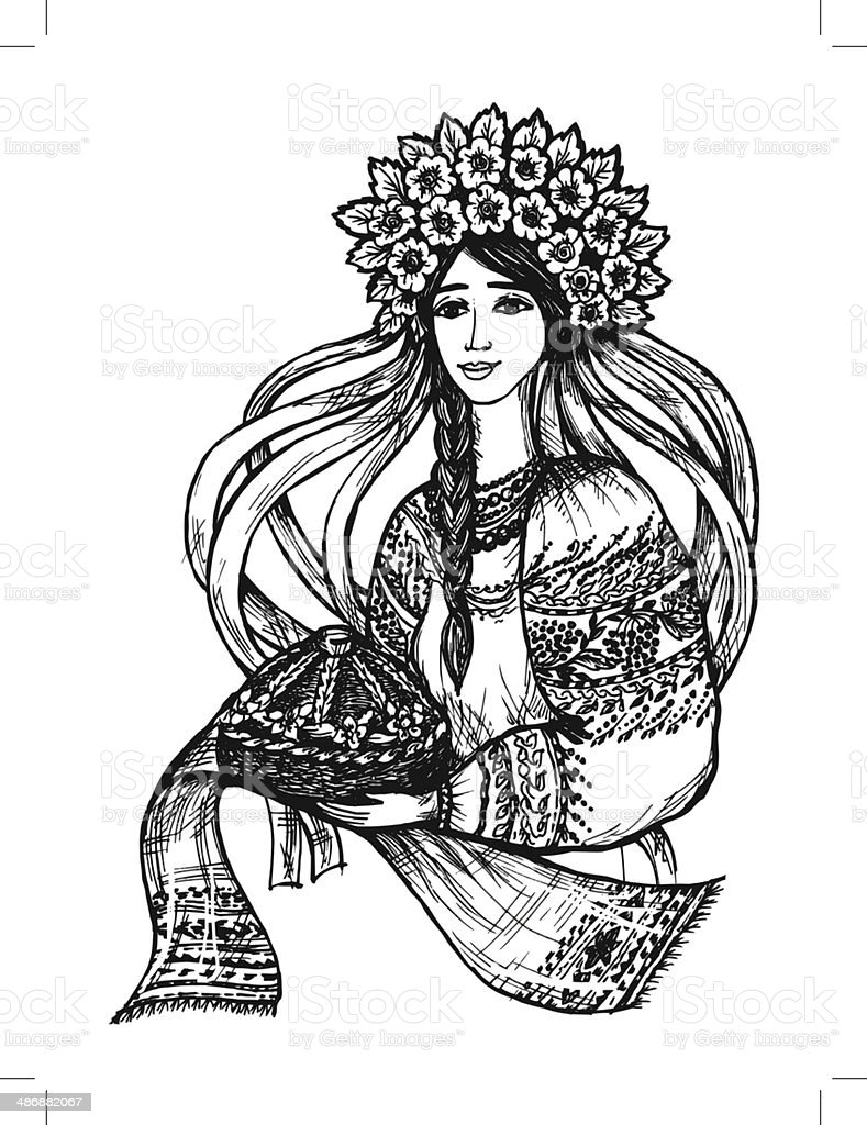 Ukrainian girl vector art illustration