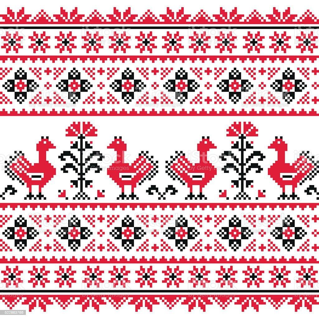 Ukrainian Slavic folk art knitted red emboidery pattern with birds vector art illustration
