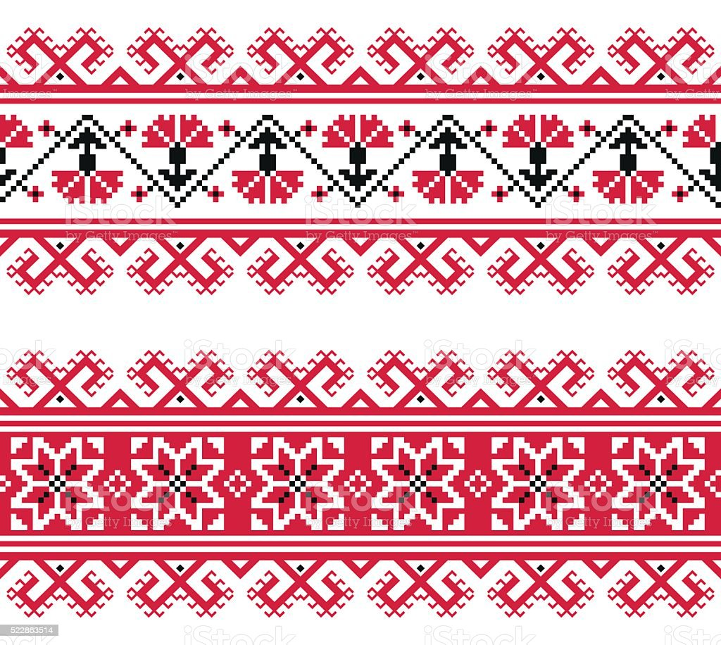 Ukrainian, Slavic red and grey traditional seamless folk embroidery pattern vector art illustration